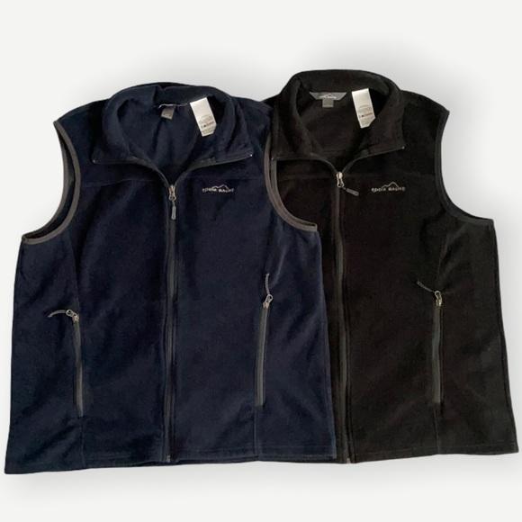 Eddie Bauer Two Fleece Vests Mens L